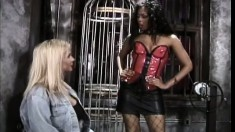 A submissive blonde gets taught a lesson by a dominant woman