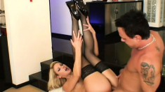 Wild blonde in black lingerie loves to get her holes fucked from behind