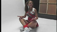 Sporty teen girl is squeezing guy's cock with her mouth and hands