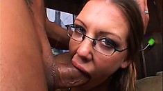 Wild and naughty chick with glasses begs for a creamy facial