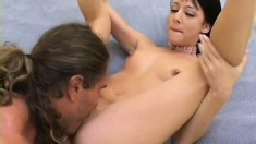 Petite brunette with small boobs squirts as a big dick keeps hitting the right spots