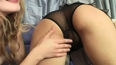 Two beautiful girls expose their bodies, touch themselves and share a hard stick