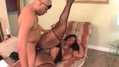 Chubby black woman has a white guy taking care of her sexual desires