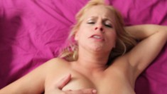 Trashy blonde MILF gets down to suck on a young dick in a POV