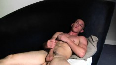 Billy Roberts caresses his ripped body and takes his dick to orgasm