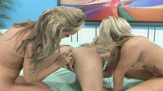 Crazy hot Angie Savage gets into a threeway with two other girls