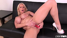Big tit blonde Alanah Rae spreads her cheeks and sticks in her dildo