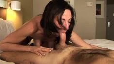 Buxom brunette mom Karen Cougar feeds her hunger for hardcore anal sex