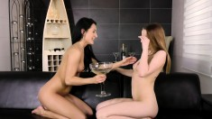 These two ladies love playing with pussy and one pees into a glass