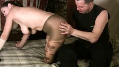 Big breasted chick in pantyhose Tania sucks and fucks Mauricio's dick