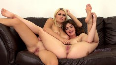 Stunning lesbian lovers Natalia and Jodi devour each other's pussies