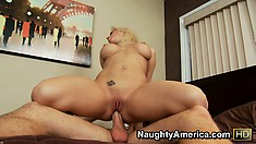 Lying on the bed, Sammy screams with delight as he drills her tight ass deep