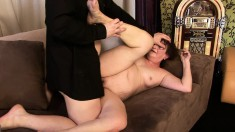 Attractive guy gets to slam this mature woman's porcelain butt