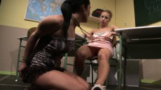 Insatiable dark-haired bimbo wants to get punished by a blonde chick