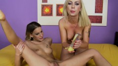 Two wild lesbian friends use a vast array of sex toys to find pleasure