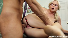 Blonde skinny mini Chloe Foster tempts the teacher into a hot fuck