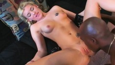 Petite blonde embarks on a journey to find pleasure with a black stud