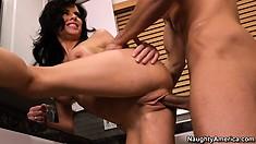 Brunette slut Veronica Avluv blows and gets banged in the kitchen