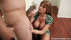 Darla Crane gets a crook in her neck looking up as she blows him