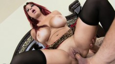 Bodacious Alyssa Lynn licks her man's butt and wildly fucks his dick