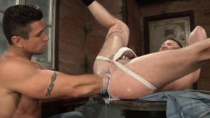 Bearded Stud Sucks His Muscled Buddy's Cock And Gets His Ass Fisted