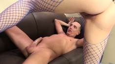 Stacked Brunette Slut In Fishnets Noel Easton Goes Wild For A Big Pole