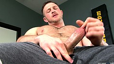 Hairy Paul Wagner grabs and squeezes his cock turning himself on