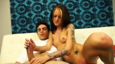 Cute little Kendra Cole sits on him and works magic with her hands