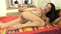 Sweet Brandy Lee goes solo and uses her dildo on her pink slit