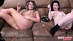Jennifer White and Casey Stone take a break while he gets hard again