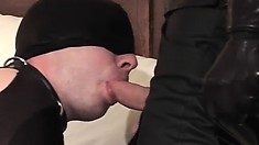 Gimp gives his freaky leather daddy a blowjob in a hotel room