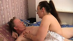 Chubby nurse in sexy lingerie goes down on her horny patient's rigid bone
