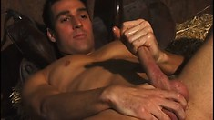 Horny innocent farmboy Dylan plays with his massive rigid sausage