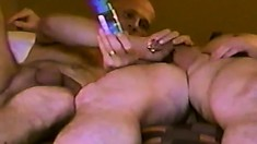 Horny gay man gets his cock jerked and sucked by a bald stud