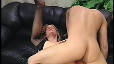 Long-haired buddy licks ass of hot blonde and then invades her anus