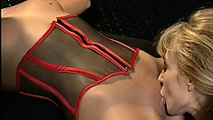 Sexy brunette gets tied up and spanked by two crazy mistresses