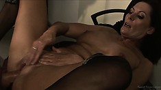 The hot milf has him pounding her cunt all over the office and can't get enough of it