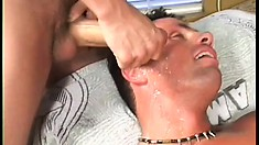 Muscular tanned dude tries the taste of big dick and loves it