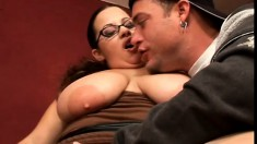 Milf plumper gives head and a tit job and her bald, fat pussy drilled