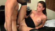 Young girlfriend Rilynn is plowed by her manager in the office