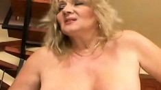 Plumper old blonde whore wants more and takes it in her fat ass
