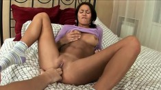 Stunning young chick quivers with excitement as she makes herself cum