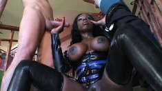 Big breasted black hottie Coco gets double drilled by two white studs