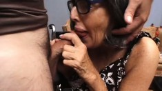 Dirty old lady wraps her lips around a dick before taking it deep in her aching cunt