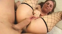 Nasty Blonde In Fishnet Stockings Welcomes A Big Dick Up Her Anal Hole