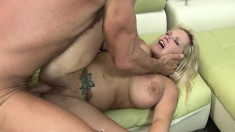 Stacked blonde cougar Rachel Love getting drilled hard and creampied