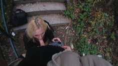 Blonde street bitch gets tricked into sucking and fucking his pecker