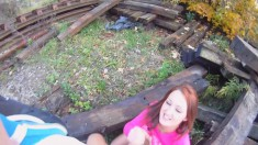Marvelous redhead teen blows and fucks a long dick outside POV style