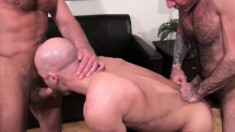 Playful hunks Nick Moretti, Chad Brock and Ben Statham enjoy fucking