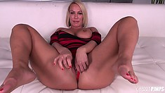 Busty blonde MILF Mellanie Monroe doesn't even bother getting naked before she masturbates
